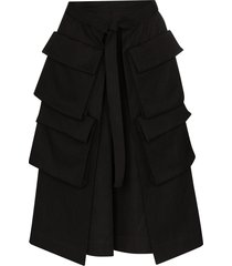 lemaire high-waist cargo pocket midi skirt - black