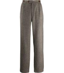 versace pre-owned 1980's versace tweed trousers - brown