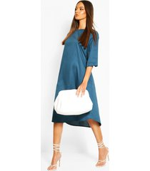 cotton roll sleeve oversized midi dress, petrol