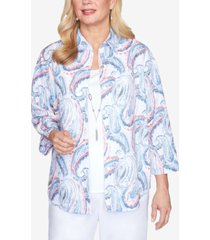 alfred dunner paisley two-for-one three-quarter sleeve woven top with detachable necklace