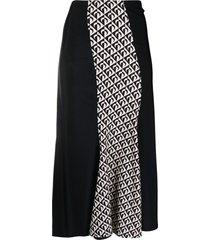 marine serre moon print panelled midi skirt - black