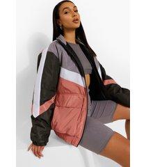 gewatteerde jas met panelen, pink