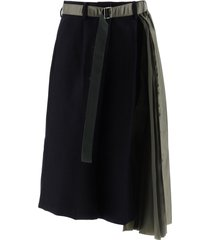 sacai bi-material asymmetrical pants