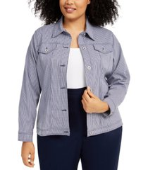alfred dunner plus size easy street checked button-up jacket