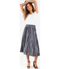 clarah satin pleated maxi skirt - silver