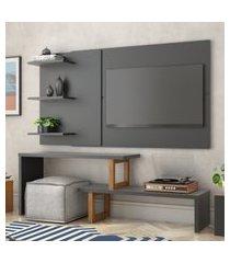 painel e rack para tv atreus preto amêndoa casah