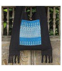 cotton shoulder bag, 'blue camellia' (thailand)