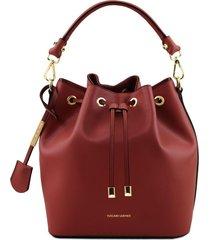 tuscany leather tl141531 vittoria - borsa secchiello da donna in pelle rosso