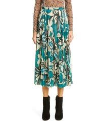 women's dries van noten floral print midi skirt, size 6 us - blue
