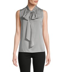 theory women's the scarf tie neck top - grey - size s