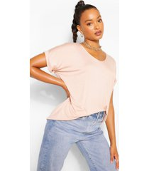 oversized boyfriend v neck t-shirt, stone