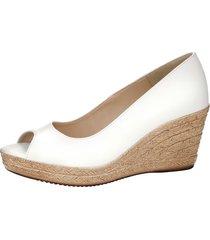 skor med kilklack klingel vit