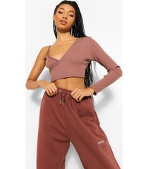 asymmetrische geribbelde crop top, chocolate