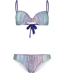 missoni mare signature stripe-knit bikini - blue