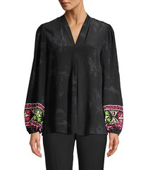 kobi halperin women's sandra silk blouse - black multi - size s