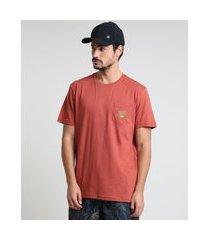 camiseta masculina básica com bolso manga curta gola careca cobre