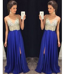2016 royal blue long v-neck prom dresses,v-neck beaded evening dresses