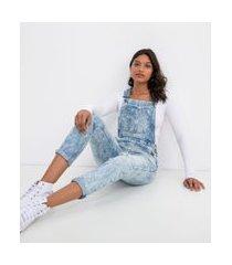 macacão jeans com bolsos e puídos   blue steel   azul   g