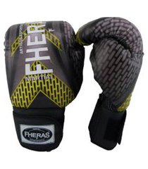 luva fheras boxe muay thai top - 14 oz iron amarelo .