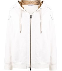 brunello cucinelli drawstring zipped hoodie - neutrals