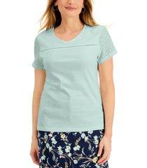 karen scott cotton short sleeve v-neck top, created for macy's