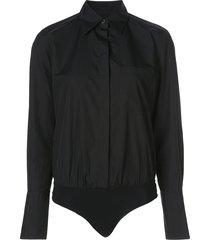 alix nyc howard poplin bodysuit - black