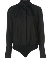 alix nyc howard poplin bodysuit - black
