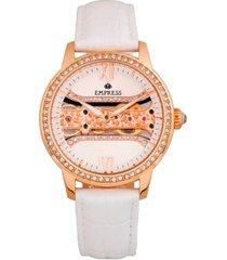 empress rania mechanical white leather watch 38mm