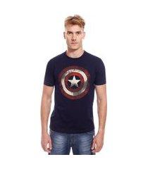 camiseta manga curta com estampa marvel capitão américa | avengers | azul | m