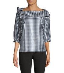 gingham boatneck blouse