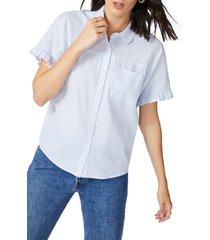 women's court & rowe spring stripe shirt, size x-large - blue