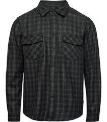bryson check wool shirt skjorta casual grå les deux
