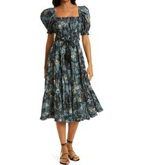 women's ulla johnson iliana puff sleeve midi dress, size 2 - blue