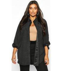 plus nep suède oversized blouse met zak detail, zwart