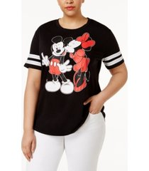 love tribe trendy plus size mickey and minnie mouse graphic t-shirt
