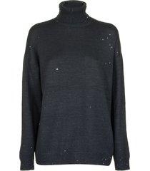 brunello cucinelli cashmere and silk diamond yarn turtleneck sweater