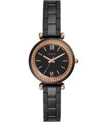 fossil women's carlie black ceramic bracelet watch 30mm