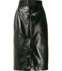 à la garçonne patent pencil skirt - black