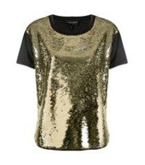 emporio armani camiseta com aplicação de paetês - dourado