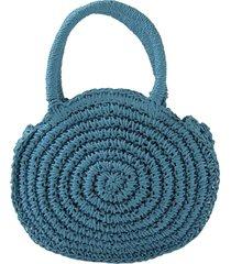 bolsa crisfael acessórios de palha sintética pequena azul