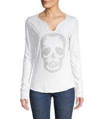 embellished skull long sleeve tee