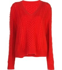 jason wu v neck sweatshirt - red