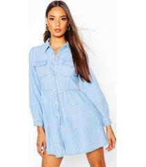 long sleeve denim shirt dress, light blue