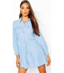 denim blouse jurk met lange mouwen, light blue