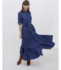 motivi vestito lungo chemisier in chambray donna blu