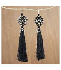 agate and onyx dangle earrings, 'dance with me in black' (thailand)