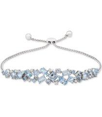 aquamarine (3-5/8 ct. t.w.) & diamond (1/10 ct. t.w.) bolo bracelet in sterling silver