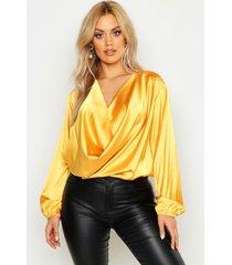 plus satin cowl long sleeve blouse, mustard