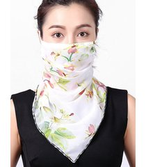 flower printed chiffon mask scarf