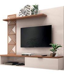 painel bancada suspensa para tv atã© 50 pol. grid off white/nature – hb mã³veis - unico - dafiti